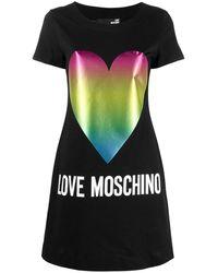 Love Moschino ハートプリント Tシャツワンピース - ブラック