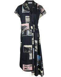 Cedric Charlier パッチワークドレス - ブルー