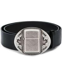 DSquared² Cinturón con motivo de hoja de arce en relieve - Negro