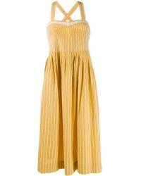 The Great Pinstripe Midi Dress - Yellow