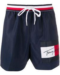 Tommy Hilfiger Short de bain à taille rayée - Bleu