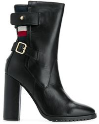 Tommy Hilfiger Tricolour-stripe Buckled Boots - Black