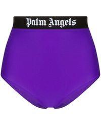 Palm Angels Bragas de bikini con logo estampado - Morado