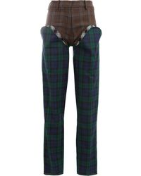 Y. Project Checked Tailored Trousers - Brown