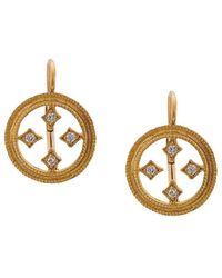 Cathy Waterman Double-milgrain Circular Earrings - Yellow