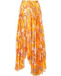 Acler Hooper Pleated Maxi Skirt - Orange