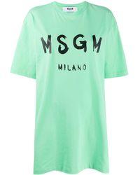 MSGM - ロゴ ロングライン Tシャツ - Lyst