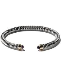 David Yurman - Cable Classics Sterling Silver Amethyst & 14kt Yellow Gold Accented Cuff Bracelet - Lyst