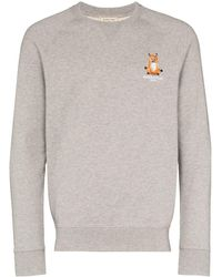 "Maison Kitsuné Sweatshirt mit ""Lotus Fox""-Stickerei - Grau"