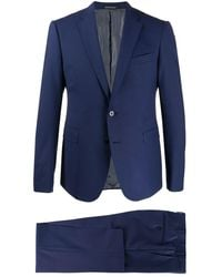 Emporio Armani Fitted Two Piece Suit - Blue