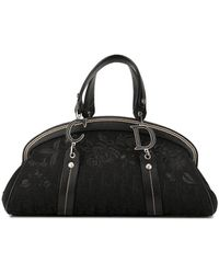 Dior Pre-owned Rose Embroidery Trotter Tote - Black