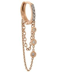 Kismet by Milka 14kt Rose Gold 3 Diamond Solitaire Chainy Hoop Earrings - Многоцветный
