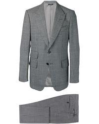 Tom Ford Costume à motif pied-de-poule - Gris
