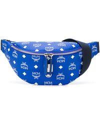 MCM All Over Logo Print Belt Bag - Blue