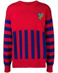 Versace - Crew Neck Panelled Sweater - Lyst
