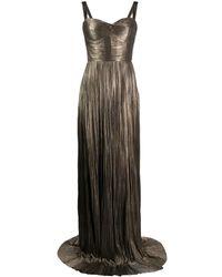 Maria Lucia Hohan Kesia メタリック プリーツドレス - ブラウン