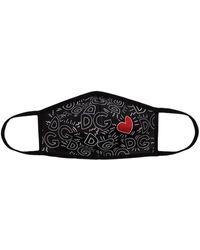 Dolce & Gabbana Heart Monogram-print Face Mask - Black