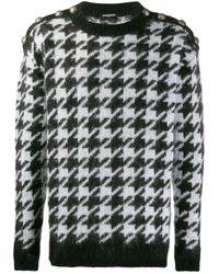 Balmain Pullover mit Hahnentrittmuster - Schwarz