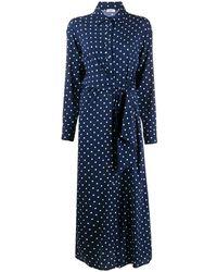 P.A.R.O.S.H. Платье Со Сборками И Узором В Горох - Синий