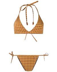 Fendi Karierter Bikini - Gelb