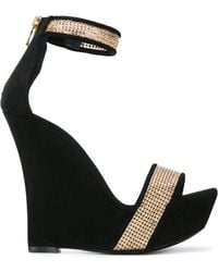 Balmain - Embellished Wedge Sandals - Lyst