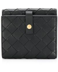 Bottega Veneta Intrecciato Weave French Wallet - Black