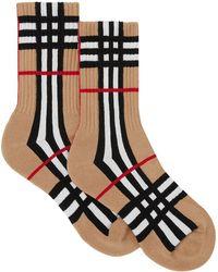Burberry Karierte Intarsien-Socken - Schwarz