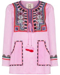 Figue Lily Embroidered Stripe Top - Pink