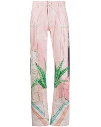 CASABLANCA Hand-painted Jeans - Pink