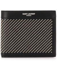 Saint Laurent Portemonnee Met Studs - Zwart