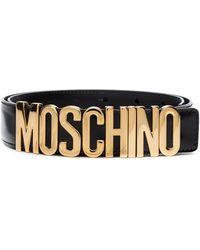 Moschino Cintura Nera Con Logo - Nero