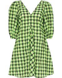 Ganni パフスリーブ ドレス - グリーン