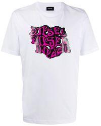 DIESEL T-Shirt mit Neon-Print - Weiß
