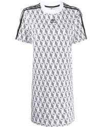 adidas ロゴ Tシャツワンピース - ホワイト