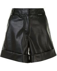 Karl Lagerfeld アニマルフリーレザー ショートパンツ - ブラック