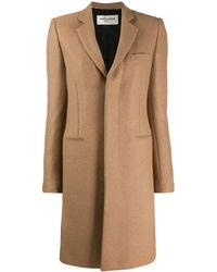 Saint Laurent Abrigo Camel Wool Coat - Natural