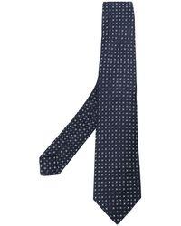 Kiton Cravate à design brodé - Bleu