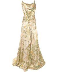 Oscar de la Renta Wrap-around Satin Gown - Green