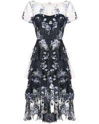Marchesa notte フローラル ドレス - ブラック