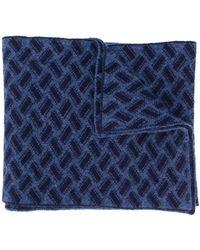 Drumohr Razor Blade Knitted Scarf - Blue