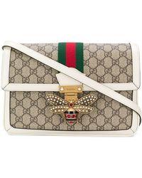 e1cf7d6f322 Lyst - Gucci Queen Margaret Stripe Leather Shoulder Bag in Black