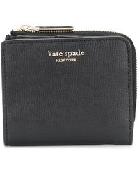 Kate Spade Sylvia Grained Logo Print Wallet - Black