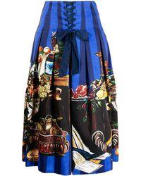 Stella Jean Falda con estampado de renacimiento - Azul