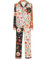 Desmond & Dempsey Пижама Persephone С Цветочным Принтом - Оранжевый