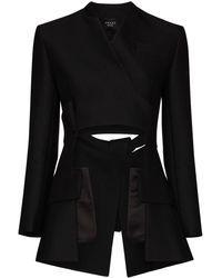A.W.A.K.E. MODE Deconstructed Collarless Blazer Jacket - Black