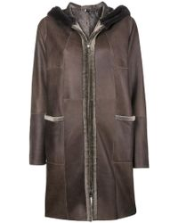 Manzoni 24 - Hooded Shearling Coat - Lyst