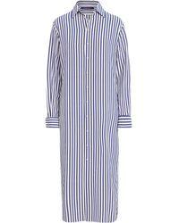 Ralph Lauren Collection Robe-chemise à fines rayures - Bleu