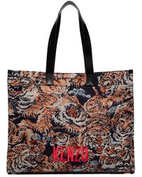 KENZO Black Tiger Embroidered Tote Bag