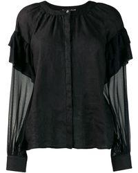 120% Lino Blusa de mangas con volantes - Negro
