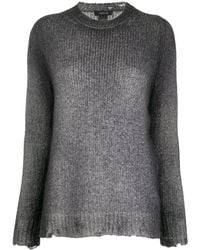 Avant Toi Distressed-effect Crew Neck Sweater - Gray